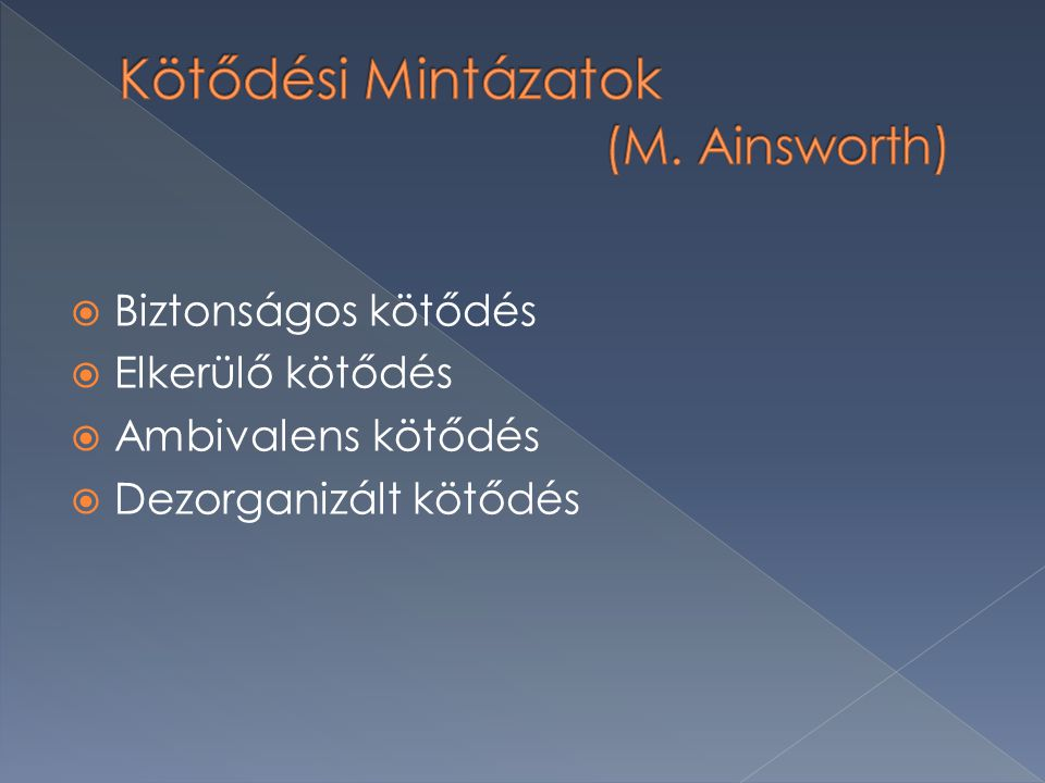 Kötődési Mintázatok (M. Ainsworth)