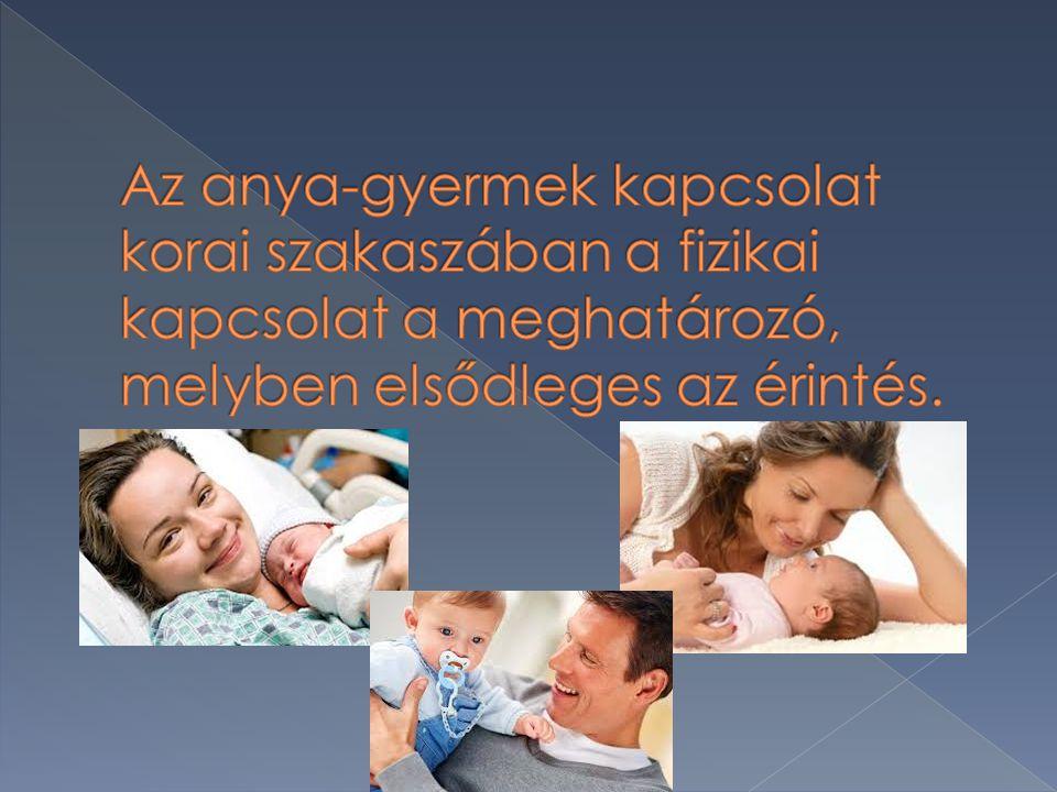 Az anya-gyermek kapcsolat korai szakaszában a fizikai kapcsolat a meghatározó, melyben elsődleges az érintés.