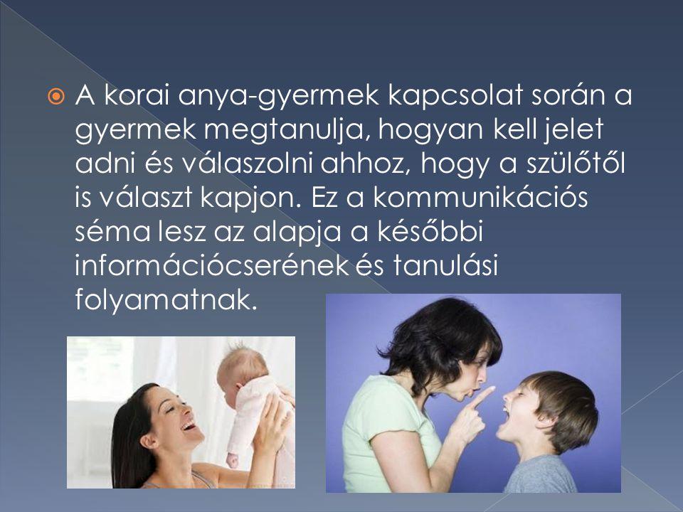 A korai anya-gyermek kapcsolat során a gyermek megtanulja, hogyan kell jelet adni és válaszolni ahhoz, hogy a szülőtől is választ kapjon.