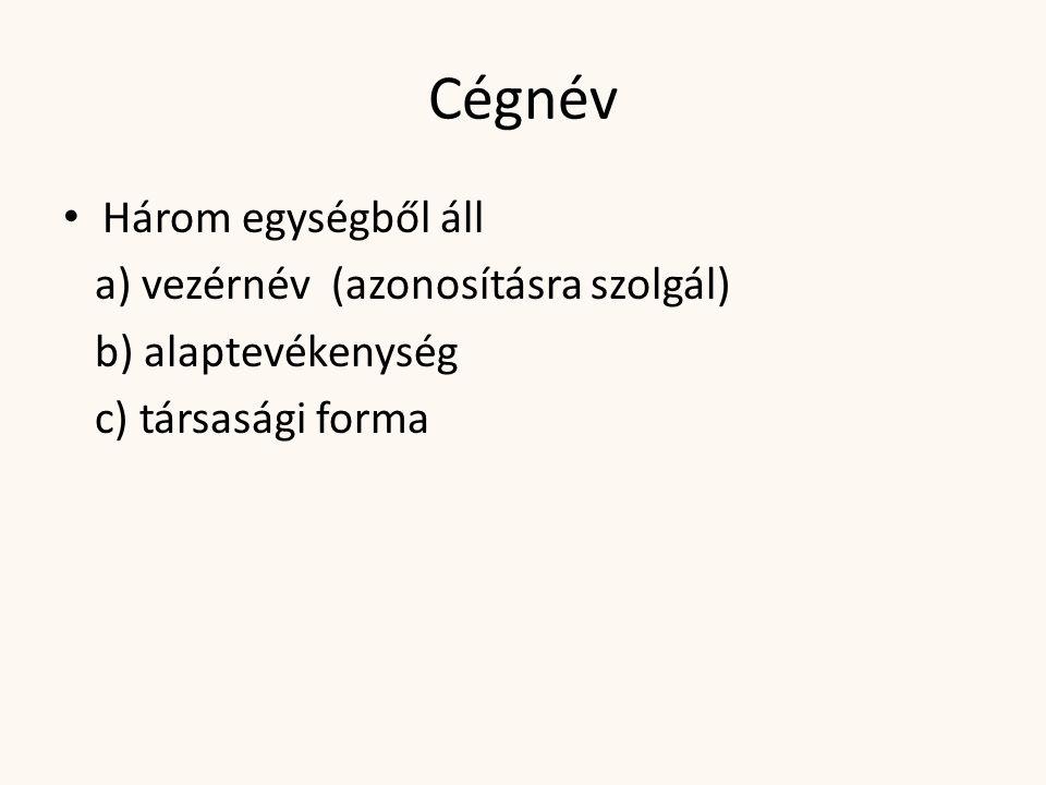 Cégnév Három egységből áll a) vezérnév (azonosításra szolgál)