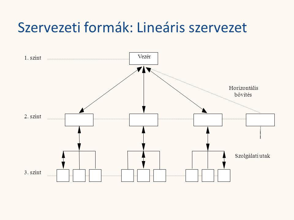Szervezeti formák: Lineáris szervezet