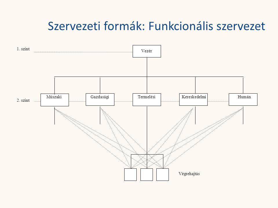Szervezeti formák: Funkcionális szervezet