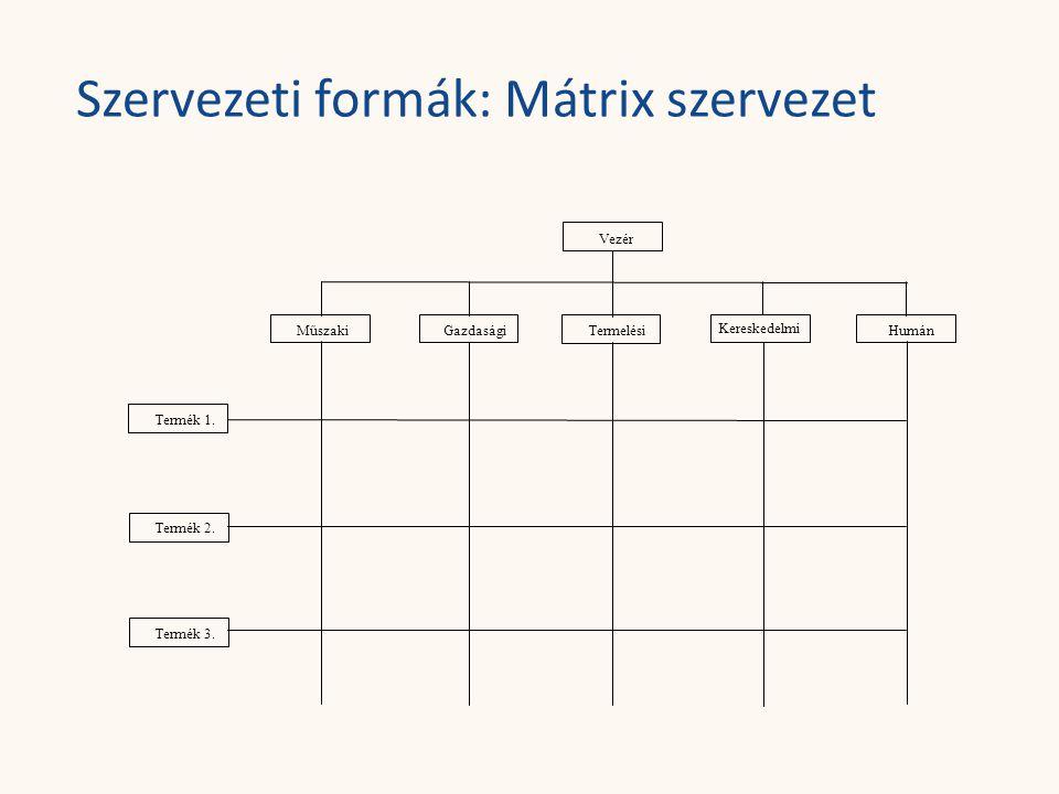 Szervezeti formák: Mátrix szervezet