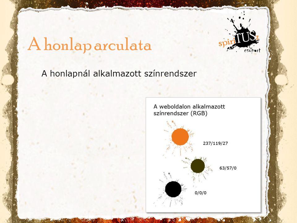 A honlapnál alkalmazott színrendszer