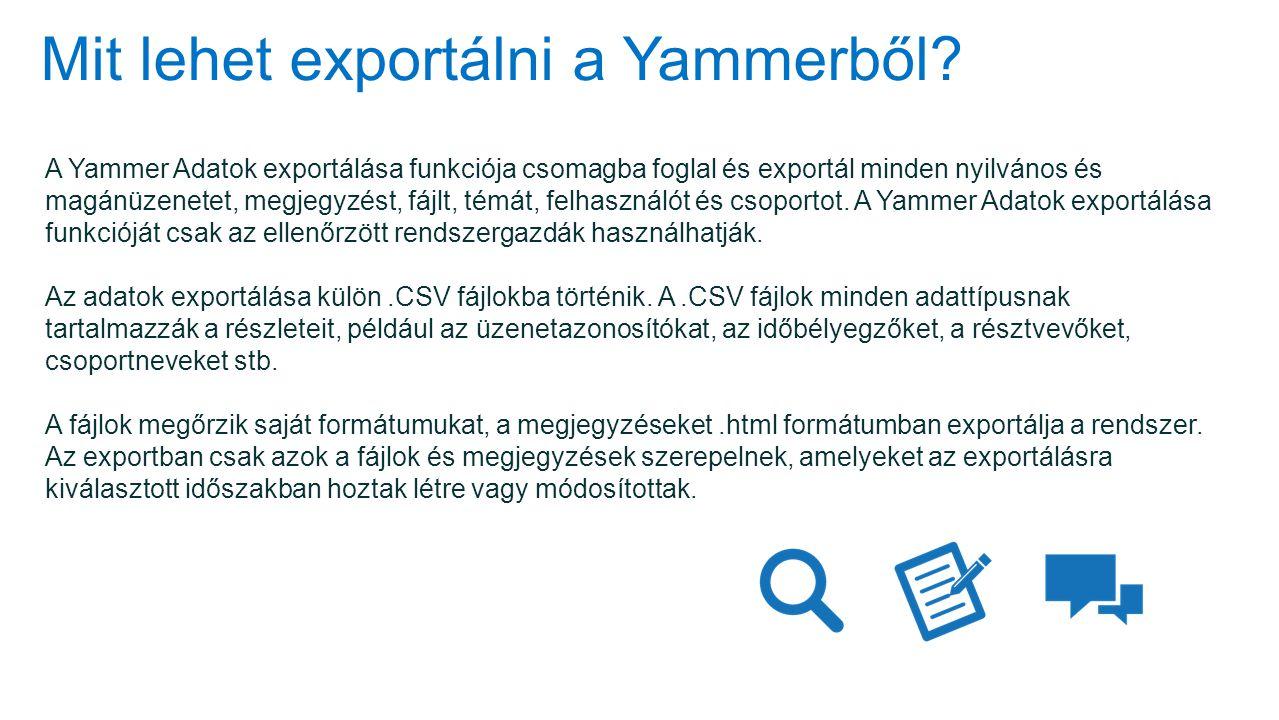 Mit lehet exportálni a Yammerből