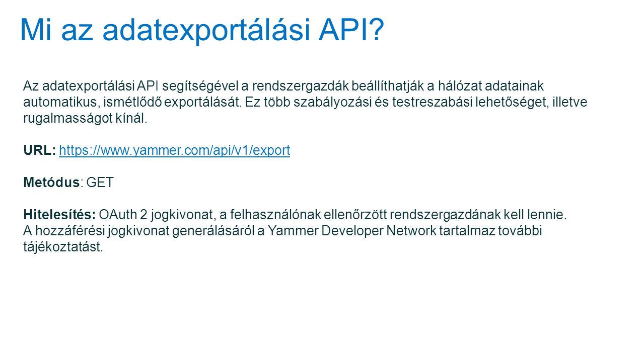 Mi az adatexportálási API