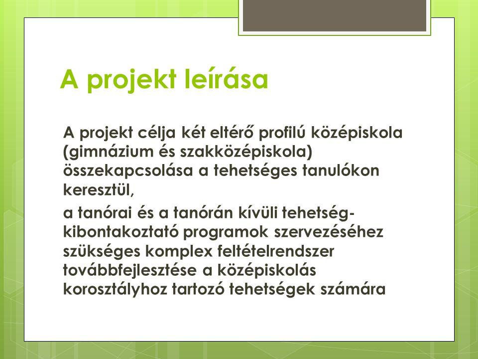 A projekt leírása A projekt célja két eltérő profilú középiskola (gimnázium és szakközépiskola) összekapcsolása a tehetséges tanulókon keresztül,