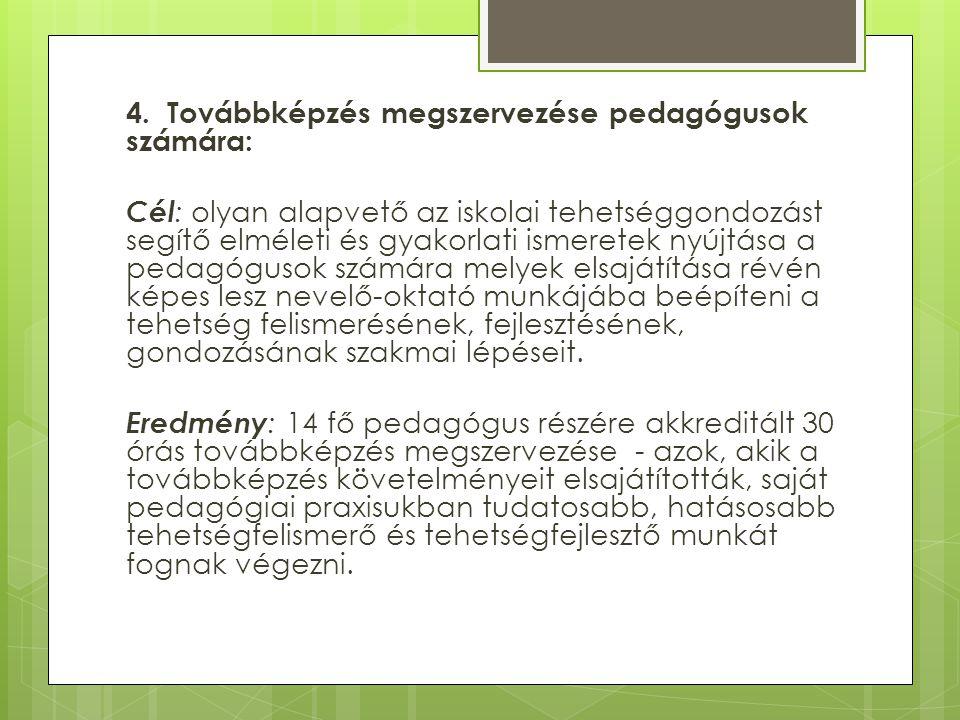 4. Továbbképzés megszervezése pedagógusok számára: