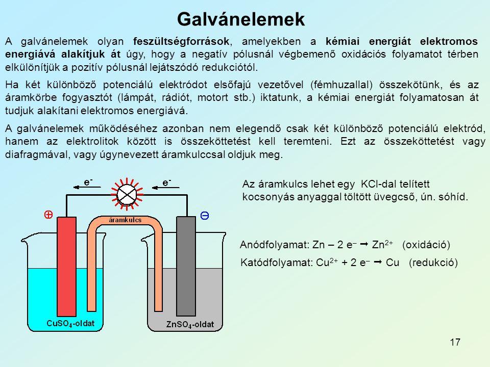 Elektrokémia Galvánelemek.