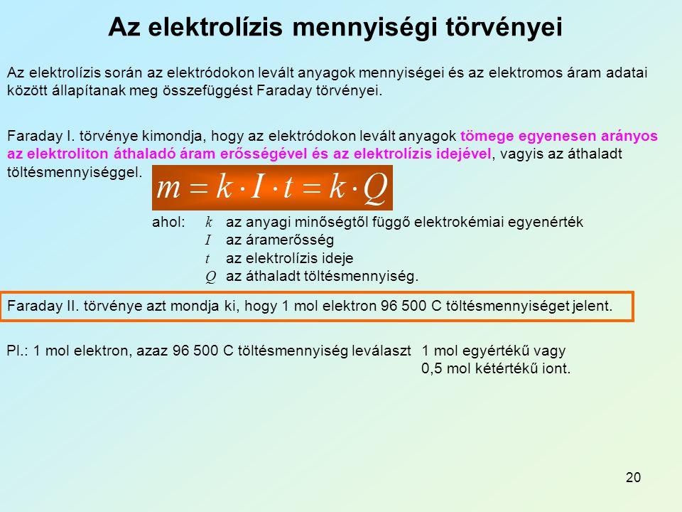 Az elektrolízis mennyiségi törvényei