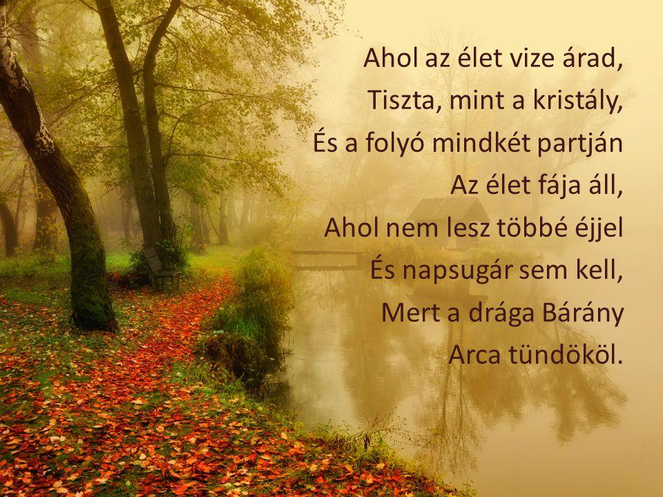 Ahol az élet vize árad, Tiszta, mint a kristály, És a folyó mindkét partján. Az élet fája áll, Ahol nem lesz többé éjjel.