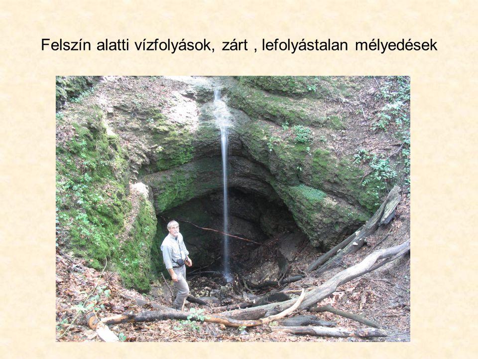 Felszín alatti vízfolyások, zárt , lefolyástalan mélyedések