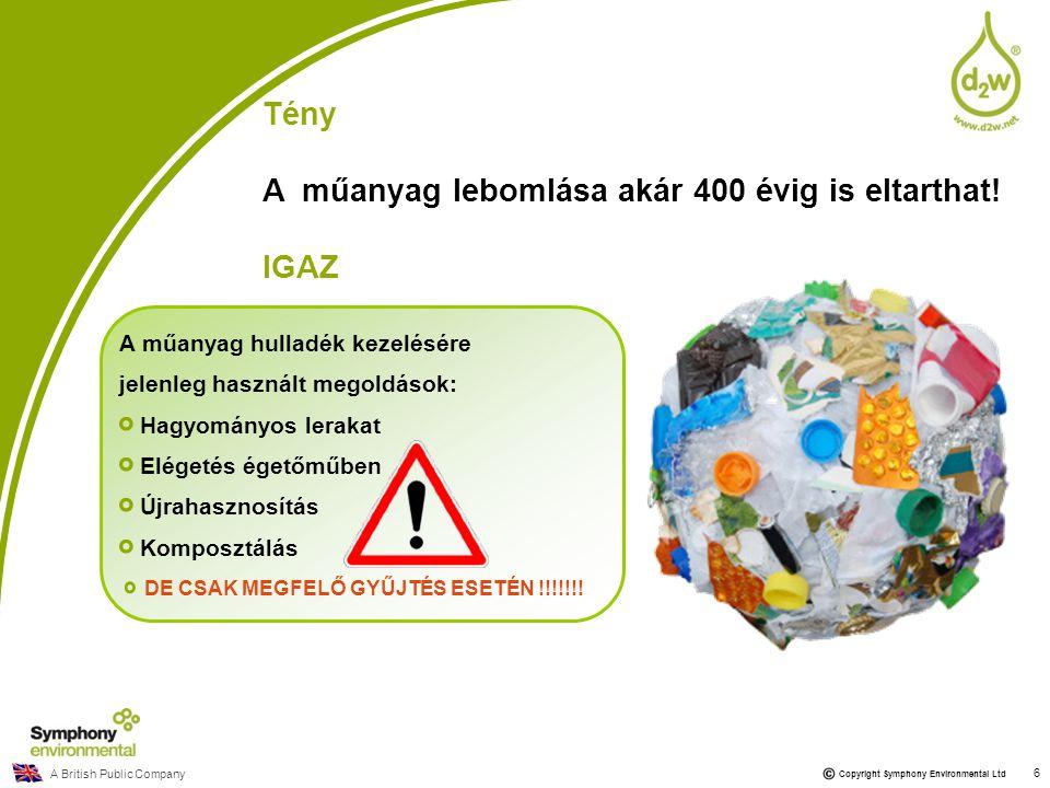 A műanyag lebomlása akár 400 évig is eltarthat! IGAZ