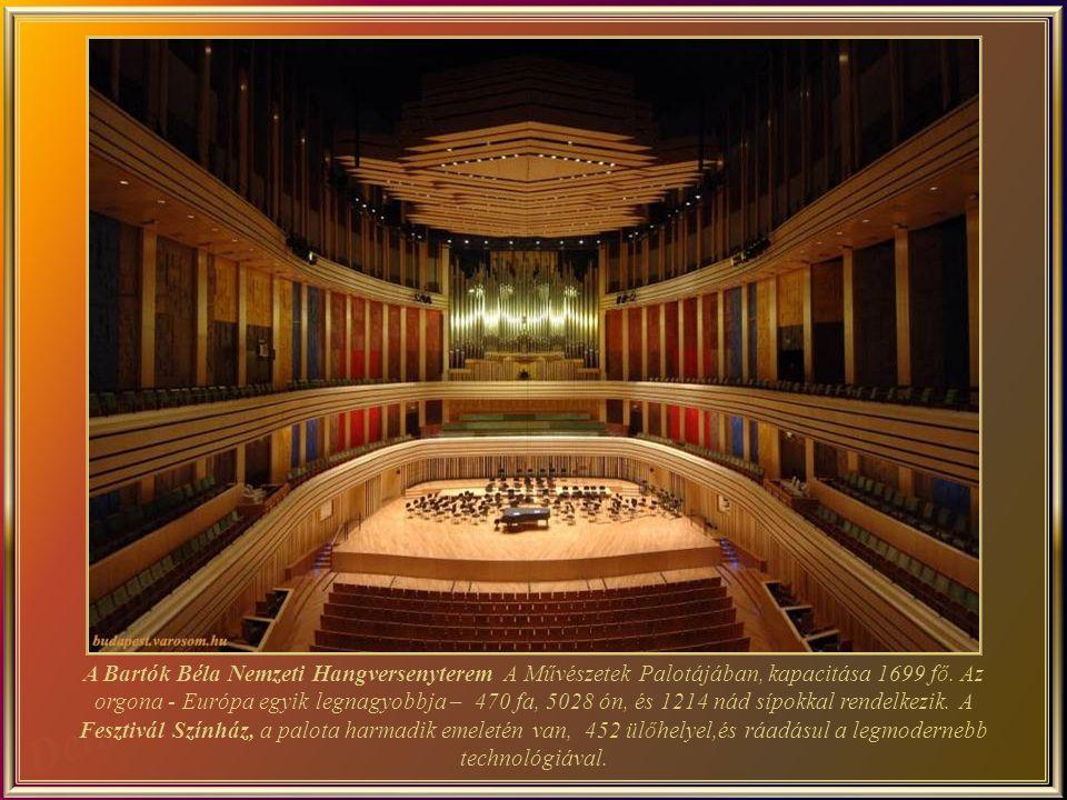 Bartók National Concert Hall do Palácio das Artes tem capacidade para 1.699 pessoas. Seu órgão – um dos maiores da Europa – tem 92 pontos e 5 manuais, bem como 470 tubos de madeira, 5.028 tubos de estanho e 1.214 tubos de palheta. O Teatro de Festivais, no terceiro andar do Palácio, com 452 lugares, dispõe também da mais moderna tecnologia.