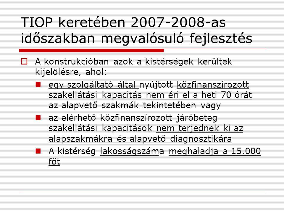 TIOP keretében 2007-2008-as időszakban megvalósuló fejlesztés