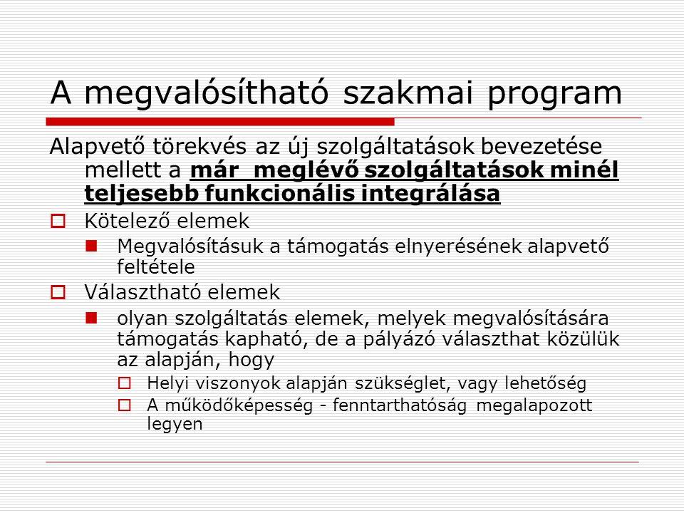 A megvalósítható szakmai program