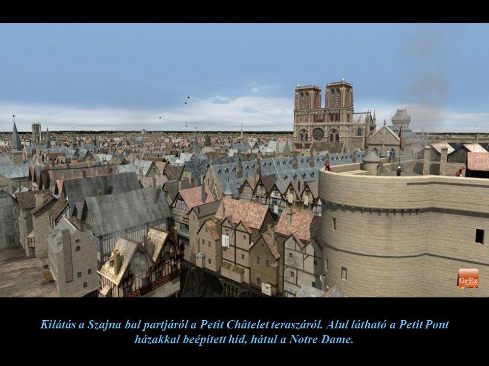 Kilátás a Szajna bal partjáról a Petit Châtelet teraszáról