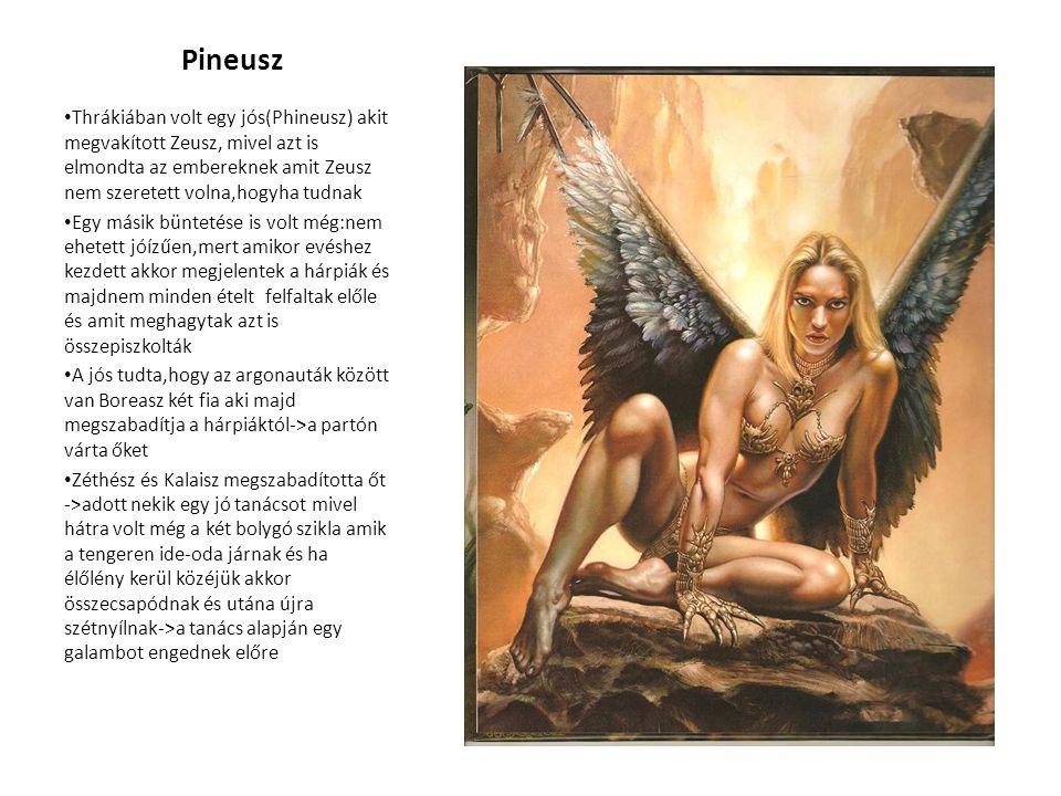 Pineusz Thrákiában volt egy jós(Phineusz) akit megvakított Zeusz, mivel azt is elmondta az embereknek amit Zeusz nem szeretett volna,hogyha tudnak.
