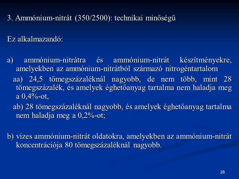 3. Ammónium-nitrát (350/2500): technikai minőségű