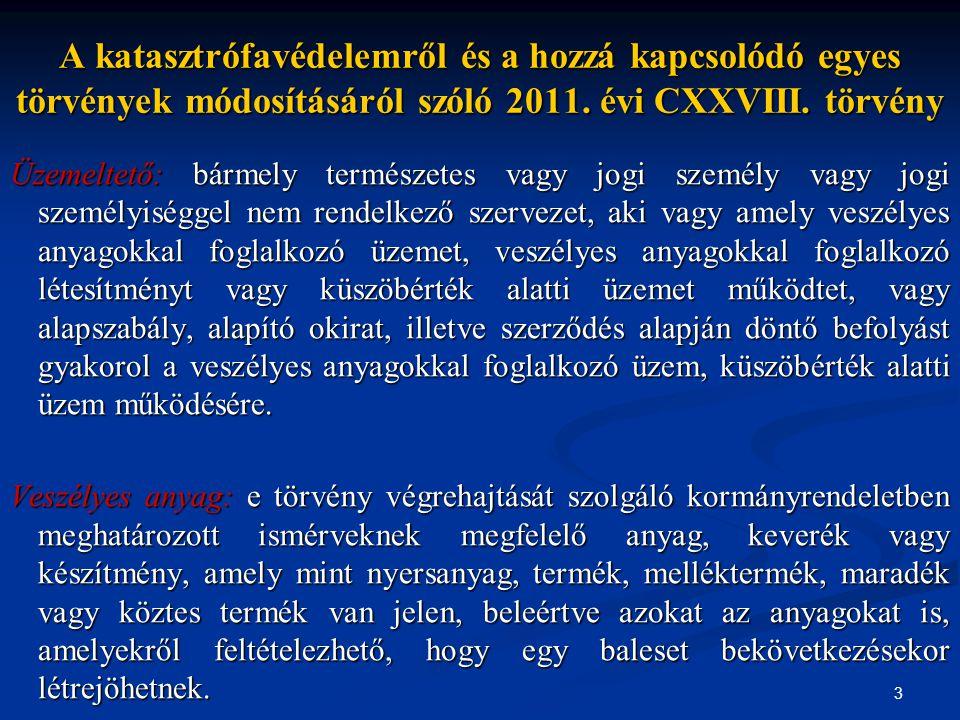 A katasztrófavédelemről és a hozzá kapcsolódó egyes törvények módosításáról szóló 2011. évi CXXVIII. törvény