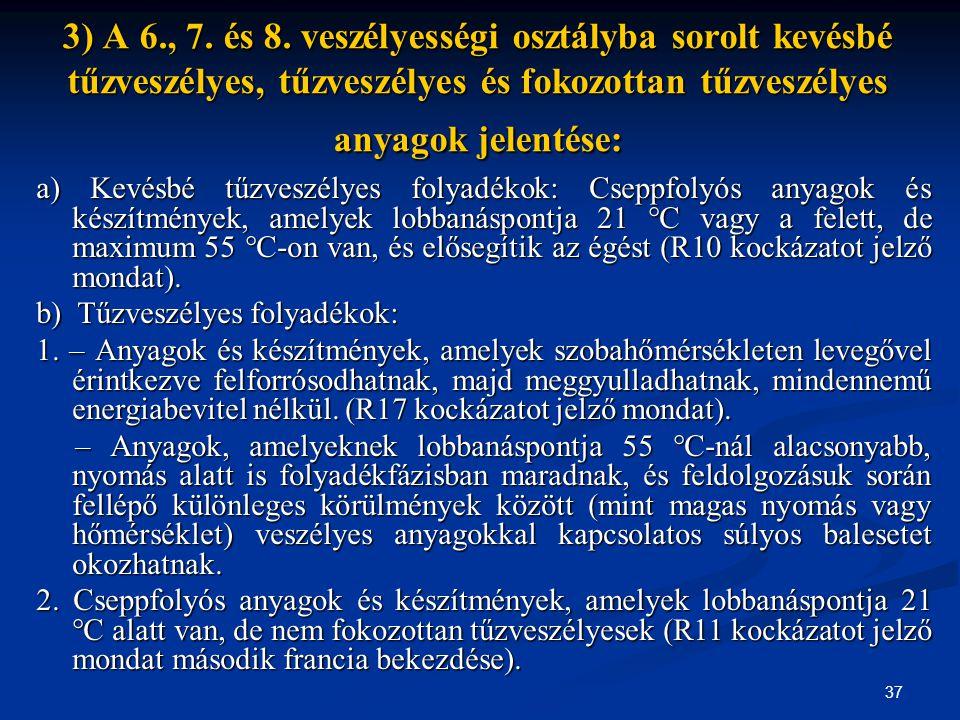 3) A 6., 7. és 8. veszélyességi osztályba sorolt kevésbé tűzveszélyes, tűzveszélyes és fokozottan tűzveszélyes anyagok jelentése: