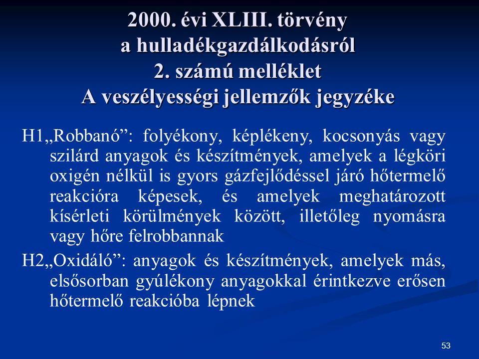 2000. évi XLIII. törvény a hulladékgazdálkodásról 2