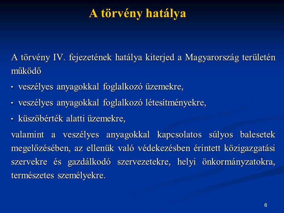 A törvény hatálya A törvény IV. fejezetének hatálya kiterjed a Magyarország területén működő. veszélyes anyagokkal foglalkozó üzemekre,