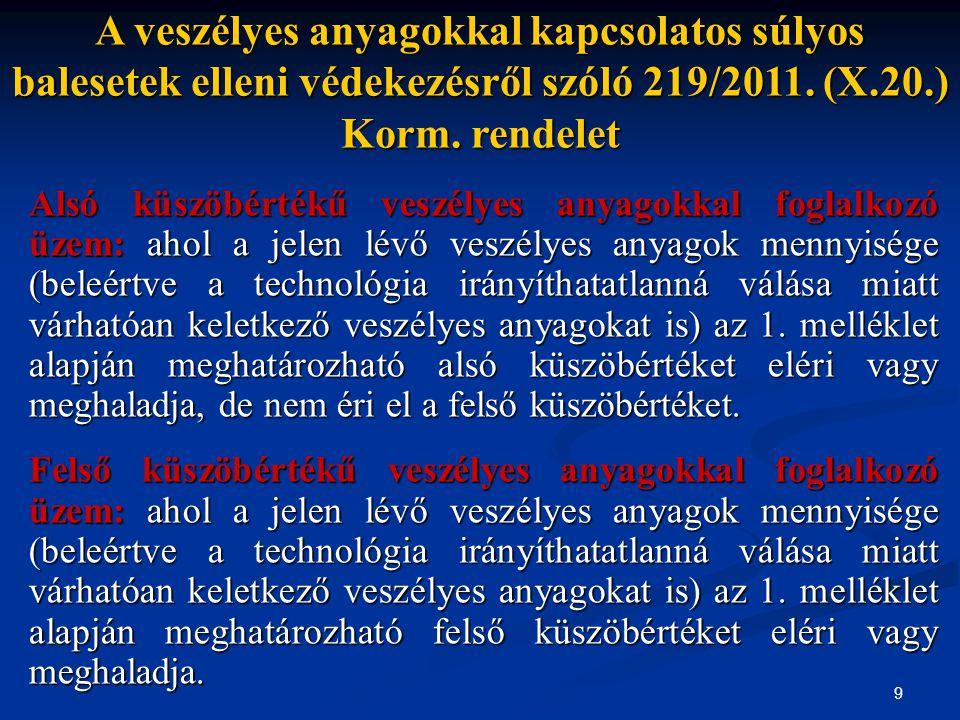 A veszélyes anyagokkal kapcsolatos súlyos balesetek elleni védekezésről szóló 219/2011. (X.20.) Korm. rendelet
