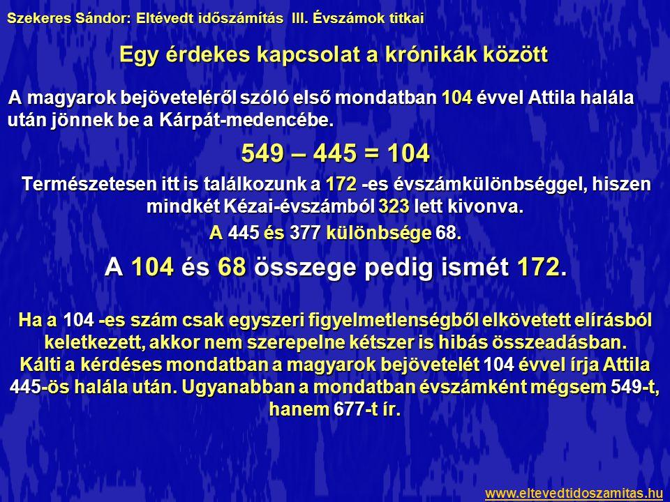 549 – 445 = 104 A 104 és 68 összege pedig ismét 172.