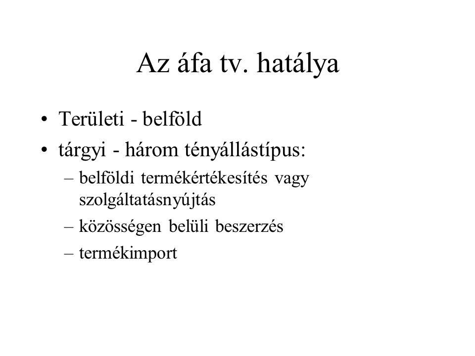 Az áfa tv. hatálya Területi - belföld tárgyi - három tényállástípus: