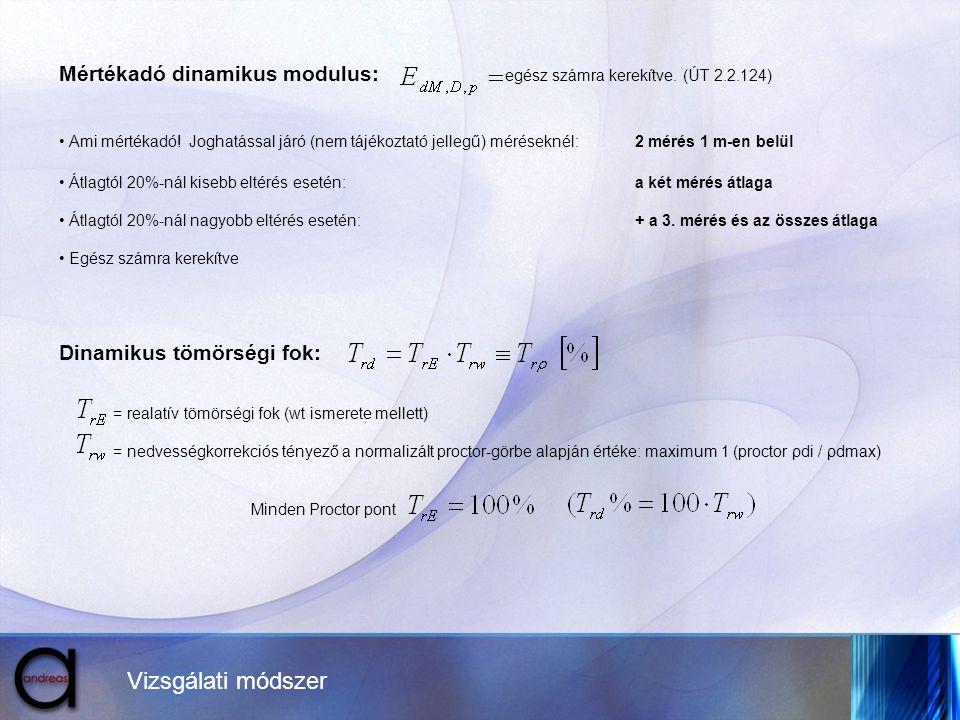 Mértékadó dinamikus modulus: egész számra kerekítve. (ÚT 2.2.124)