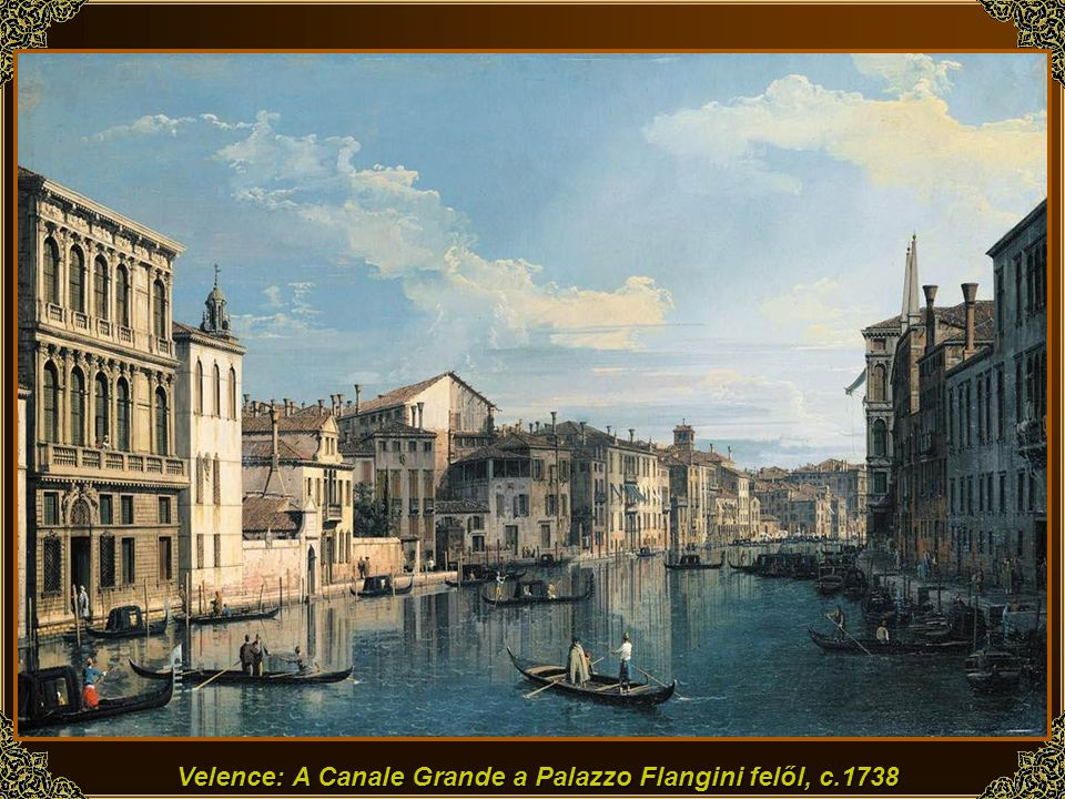 Velence: A Canale Grande a Palazzo Flangini felől, c.1738