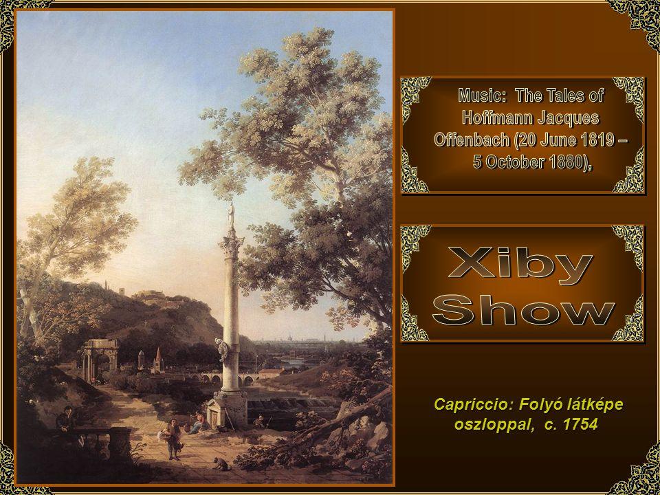 Capriccio: Folyó látképe oszloppal, c. 1754