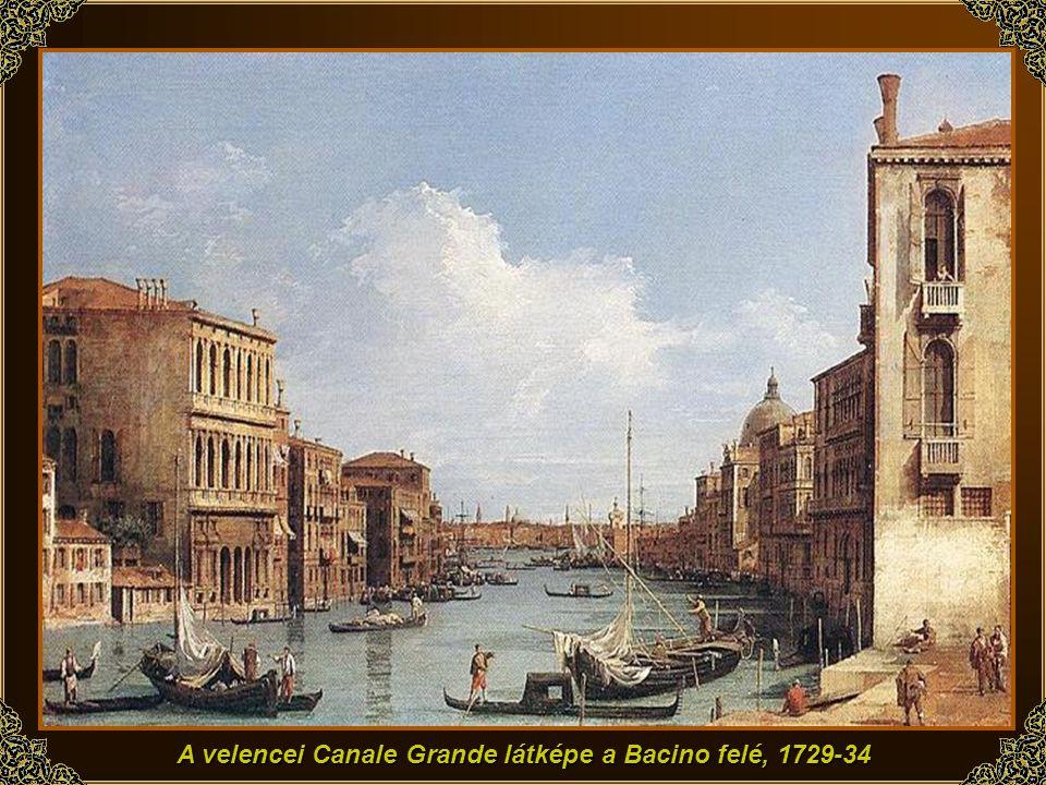 A velencei Canale Grande látképe a Bacino felé, 1729-34