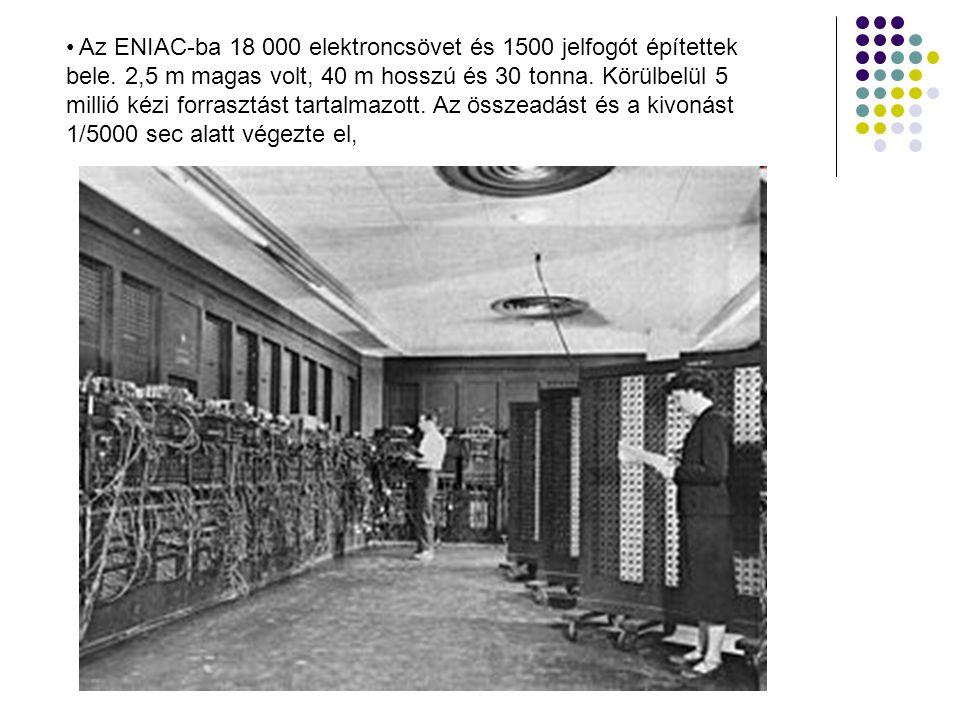 Az ENIAC-ba 18 000 elektroncsövet és 1500 jelfogót építettek bele