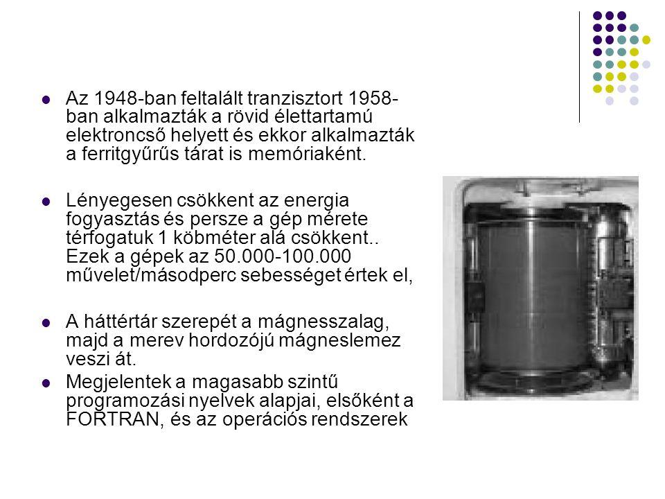 Az 1948-ban feltalált tranzisztort 1958-ban alkalmazták a rövid élettartamú elektroncső helyett és ekkor alkalmazták a ferritgyűrűs tárat is memóriaként.