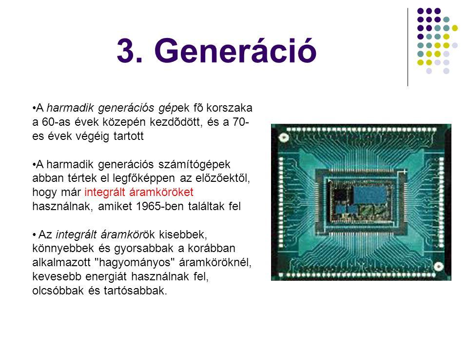 3. Generáció A harmadik generációs gépek fõ korszaka a 60-as évek közepén kezdõdött, és a 70-es évek végéig tartott.