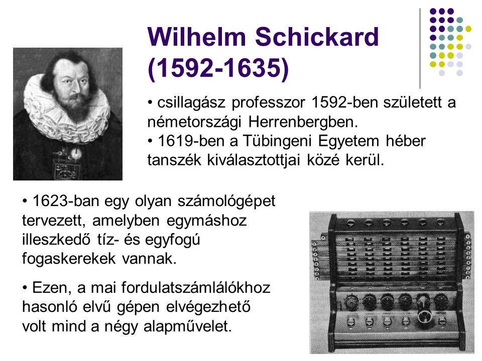 Wilhelm Schickard (1592-1635) csillagász professzor 1592-ben született a németországi Herrenbergben.