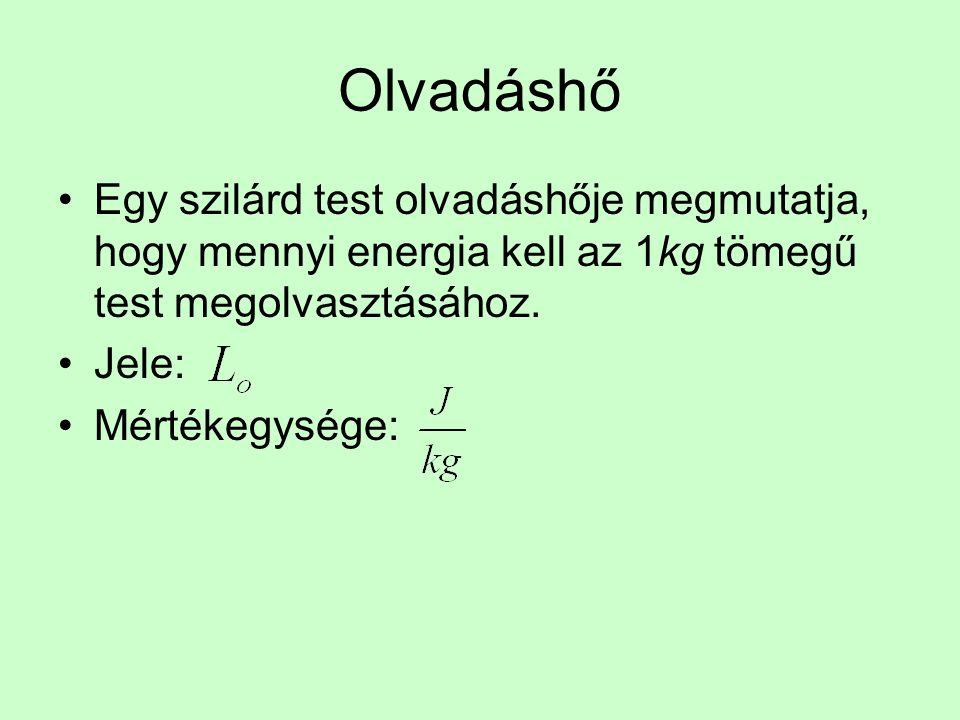 Olvadáshő Egy szilárd test olvadáshője megmutatja, hogy mennyi energia kell az 1kg tömegű test megolvasztásához.