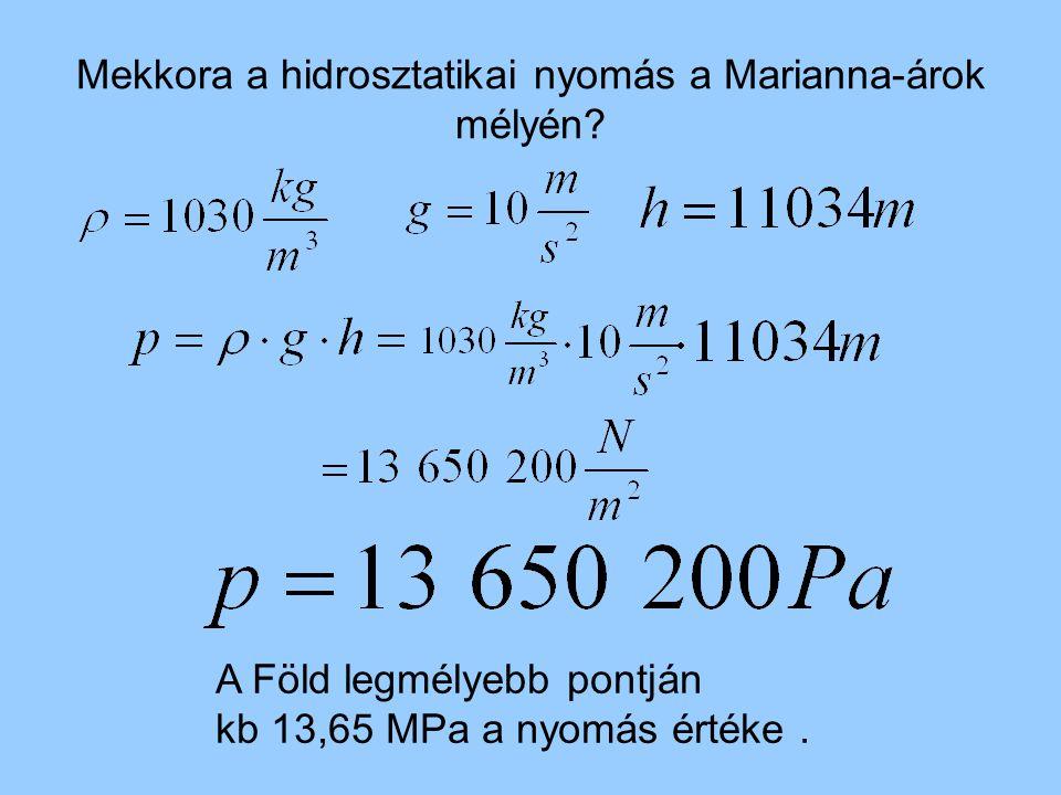 Mekkora a hidrosztatikai nyomás a Marianna-árok mélyén