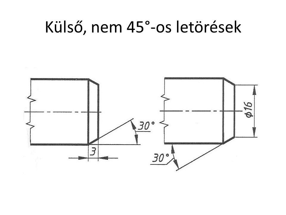 Külső, nem 45°-os letörések
