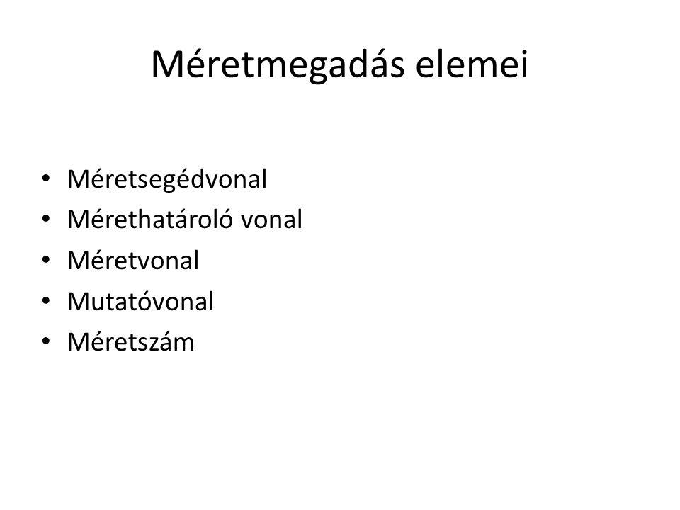 Méretmegadás elemei Méretsegédvonal Mérethatároló vonal Méretvonal
