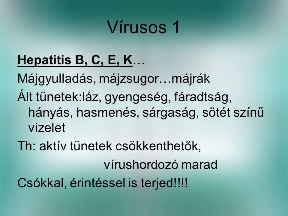Vírusos 1 Hepatitis B, C, E, K… Májgyulladás, májzsugor…májrák