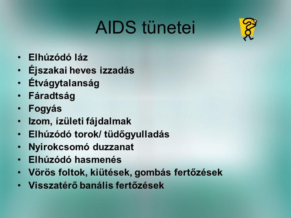 AIDS tünetei Elhúzódó láz Éjszakai heves izzadás Étvágytalanság