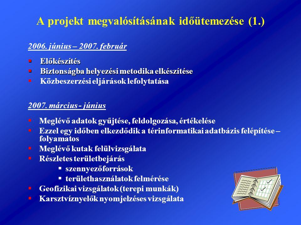 A projekt megvalósításának időütemezése (1.)