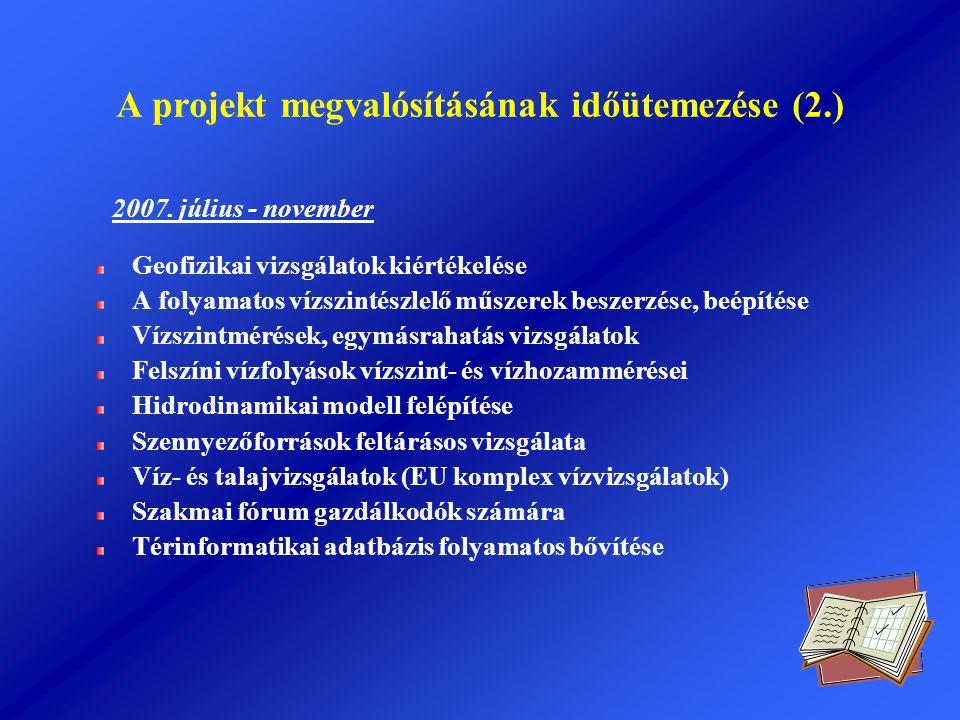 A projekt megvalósításának időütemezése (2.)