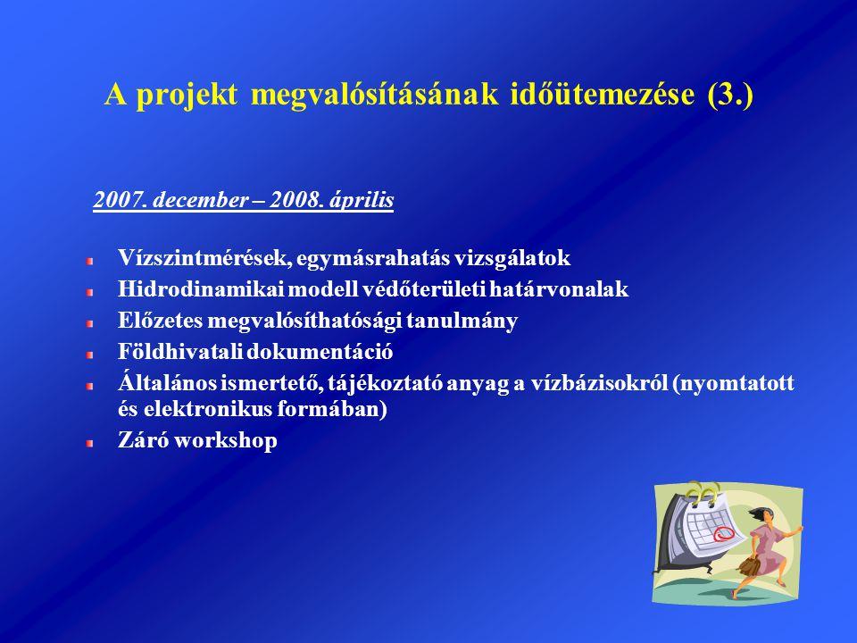 A projekt megvalósításának időütemezése (3.)