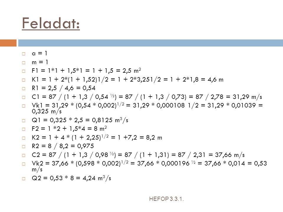 Feladat: a = 1 m = 1 F1 = 1*1 + 1,5*1 = 1 + 1,5 = 2,5 m2