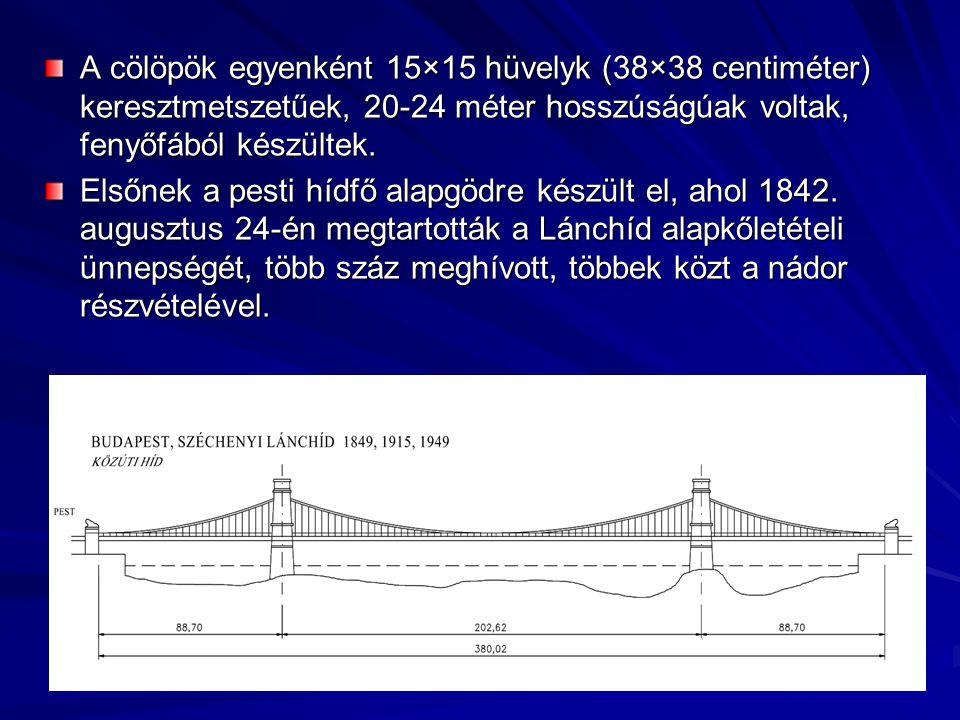 A cölöpök egyenként 15×15 hüvelyk (38×38 centiméter) keresztmetszetűek, 20-24 méter hosszúságúak voltak, fenyőfából készültek.