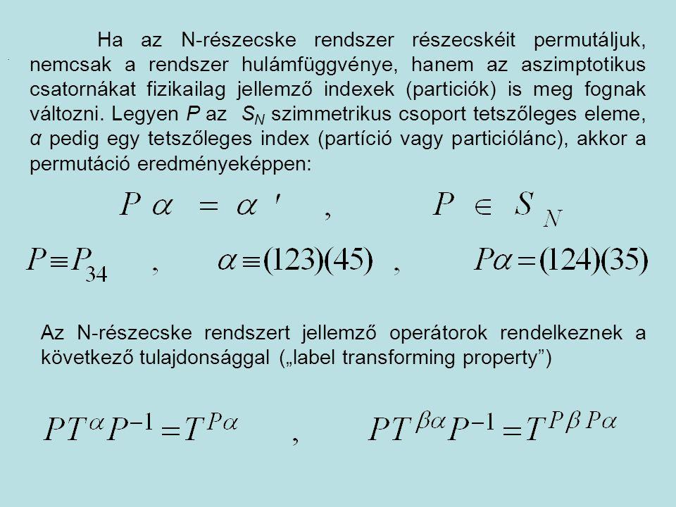 Ha az N-részecske rendszer részecskéit permutáljuk, nemcsak a rendszer hulámfüggvénye, hanem az aszimptotikus csatornákat fizikailag jellemző indexek (particiók) is meg fognak változni. Legyen P az SN szimmetrikus csoport tetszőleges eleme, α pedig egy tetszőleges index (partíció vagy particiólánc), akkor a permutáció eredményeképpen: